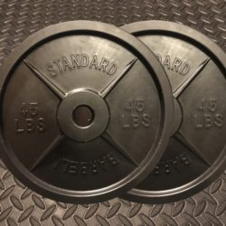One pair of fake weights Barbells plates in all black color design.